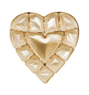 Heart Tray, Plastic, Gold, 8 oz., 12 Cavity, QTY/CASE-50
