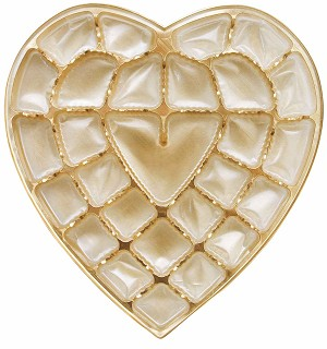 Heart Tray, Plastic, Gold, 1 lb., 27 Cavity, QTY/CASE-50