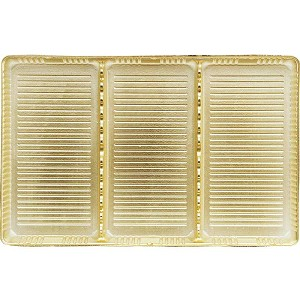 Tray, Rectangle, Gold, 16 oz., 3 Cavity, QTY/CASE-50