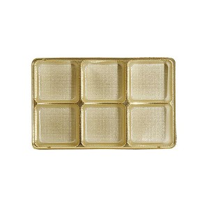 Tray, Rectangle, Gold, 8 oz., 6 Cavity, QTY/CASE-50