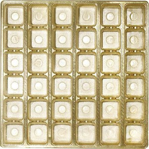 Tray, Square, Gold, 16 oz., 36 Cavity, Gift-Sized, QTY/CASE-50
