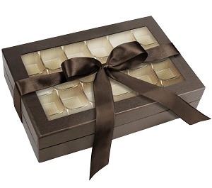 Rigid Set-up Box, Window Box with Ribbon, Rectangle, 16 oz., Deco Bronze, QTY/CASE-12