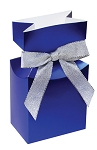 Folding Carton, CLOSEOUT, Pleated Top Gift Box, Metallic Blue, QTY/CASE-50