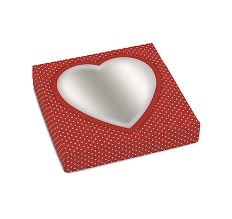 Red Heart w/ White Polka Dots, Decorative Gift Box with Window, 5-1/2 x 5-1/2 x 1-1/8