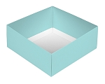 Folding Carton, This Top - That Bottom, Base, 8 oz., Square, Robin Egg Blue, Double-Layer, QTY/CASE-50