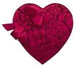 Heart Box, Bow, Passion Ivy, 1-1/2 lbs., QTY/CASE-6