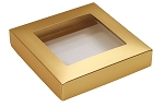 Folding Carton, This Top - That Bottom, Window Lid, 8 oz., Square, Metallic Gold, QTY/CASE-50