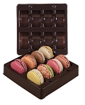 Tray, Macaron, Square, Brown, 8 Cavity, 5-1/2 x 5-1/2 x 1
