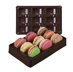Tray, Macaron, Rectangle, Brown, 9 Cavity, 6-3/4 x 4 x 1-1/4