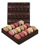 Tray, Macaron, Square, Brown, 18 Cavity, QTY/CASE-100