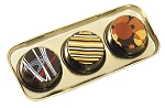 Tray, Artisan Series Gold with Clear Lid, Rectangle, 3 Cavity, 4-1/2 x 2 x 1