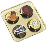 Tray, Artisan Series Gold Tray with Clear Lid, Square, 4 Cavity, 3-1/2 x 3-1/2 x 1