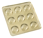 Tray, Artisan Series Gold with Clear Lid, Square, 9 Cavity, QTY/CASE-50