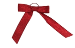 Pre-Tied Bows with Stretch Loops, Metallic Crimson Red, 6