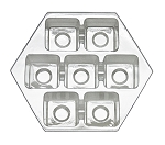 Tray, Hexagon, Clear, 7 Cavity, QTY/CASE-50