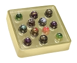 Tray, Truffle Tray with Gold Base and Clear Guard, Square, Bite-Size, Clear, 12 Cavity, 7-1/2 x 7-1/2 x 1-3/4