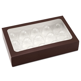 Truffle Window Box, 15-Piece, Rectangle, Brown, 10 x 6-1/2 x 1-3/4