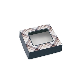 Autumn Plaid, Decorative Gift Box with Window, 3-1/2 x 3-1/2 x 1