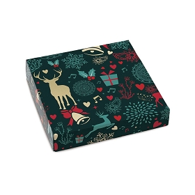 Christmas Spirit, Decorative Gift Box, 5-1/2 x 5-1/2 x 1