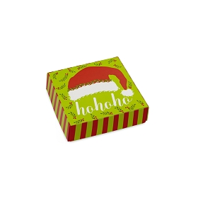 HO HO HO Santa Hat, Decorative Gift Box, 3-1/2 x 3-1/2 x 1