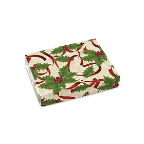 Holly and Ribbon, Decorative Gift Box, Petite Rectangle, 4-1/2 x 3-3/4 x 1