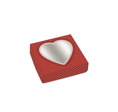 Red Heart w/ White Polka Dots, Decorative Gift Box with Window, 3-1/2 x 3-1/2 x 1-1/8