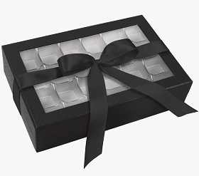 Rigid Set-up Box, Window Box with Ribbon and Riser, Rectangle, 16 oz., Black, QTY/CASE-12