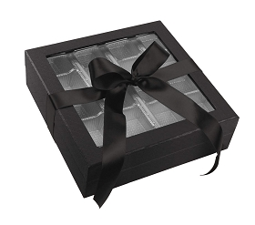 Rigid Set-up Box, Window Box with Ribbon and Riser, Square, 16 oz., Shiny Black, QTY/CASE-12