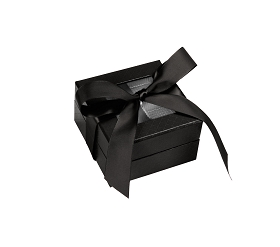 Rigid Set-up Box, Window Box with Ribbon and Riser, Square, 3 oz., Shiny Black, QTY/CASE-24