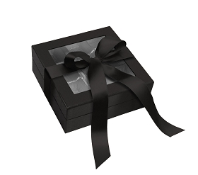Rigid Set-up Box, Window Box with Ribbon and Riser, Square, 8 oz., Shiny Black,  QTY/CASE-12