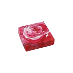 Folding Carton, Lid, 3 oz., Petite, Square, Watercolor Rose, QTY/CASE-50