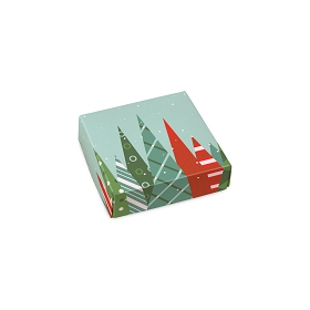 Folding Carton, Lid, 3 oz., Petite, Square, Christmas Trees, QTY/CASE-50