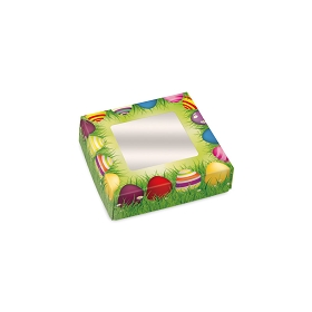 Folding Carton, Window Lid, 3 oz., Petite, Square, Easter Meadow, QTY/CASE-50