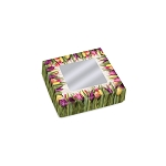 Folding Carton, Window Lid, 3 oz., Petite, Square, Country Tulips, QTY/CASE-50
