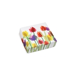Folding Carton, Lid, 3 oz., Petite, Square, Spring Tulips, QTY/CASE-50