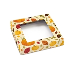Folding Carton, Window Lid, 8 oz., Square, Hello Autumn, QTY/Case-50