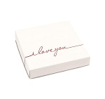 Folding Carton, Lid, 8 oz., Square, I Love You, QTY/CASE-50