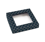 Navy Elegance, Decorative Gift Box with Window, 5-1/2 x 5-1/2 x 1-1/8