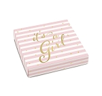 Folding Carton, Lid, 8 oz., Square, IT'S A GIRL, QTY/CASE-50