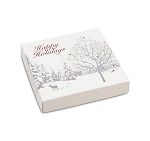 Folding Carton, Lid, 8 oz., Square, Happy Holidays Winter Enchantment, QTY/CASE-50