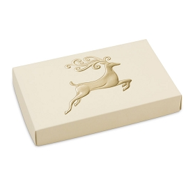 Folding Carton, Lid, 8 oz., Rectangle, Holiday Reindeer box, QTY/CASE-50