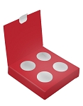 Artisan Series Box with Flip Lid, 4-Piece, Red, 3-1/2 x 3-1/2 x 1
