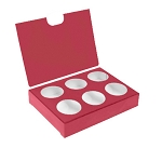 Artisan Series Box with Flip Lid, 6-Piece, Red, 4-1/2 x 3-1/4 x 1