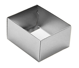 Folding Carton, This Top - That Bottom, Base, 4 oz., Rectangle, Metallic Silver, Double-Layer, QTY/CASE-50