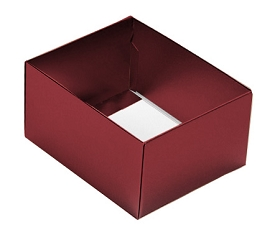Folding Carton, This Top - That Bottom, Base, 4 oz., Rectangle, Metallic Red, Double-Layer, QTY/CASE-50