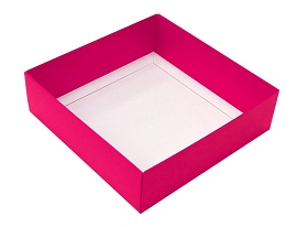 Folding Carton, This Top - That Bottom, Base, 16 oz., Square, Hot Pink, Double-Layer, QTY/CASE-50