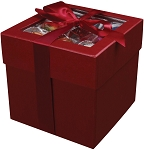 Rigid Set-up Box, Cube, 4-Tier, Window and Ribbon, Red, QTY/CASE-12