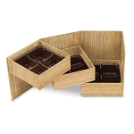 Rigid Set-up Box, Cube, 3-Tier, Petite, Textured Wood Grain, QTY/CASE-24