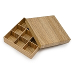 Rigid Set-up Box, Gift Box, Single-Layer, Square, 8 oz., Textured Wood Grain, QTY/CASE-24