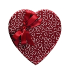 Heart Shaped Candy Box, Crimson & White Heart Print, Bow, 8 oz., QTY/CASE-12